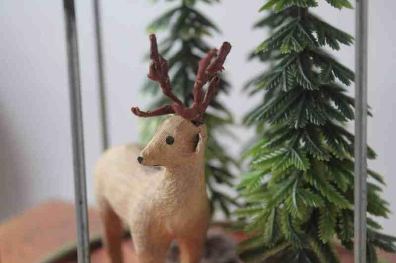 side view of vintage christmas diorama