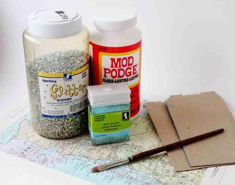 vintage atlas maps, glitter and modge podge
