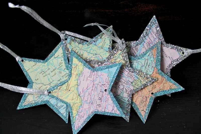 vintage atlas paper stars in bowl