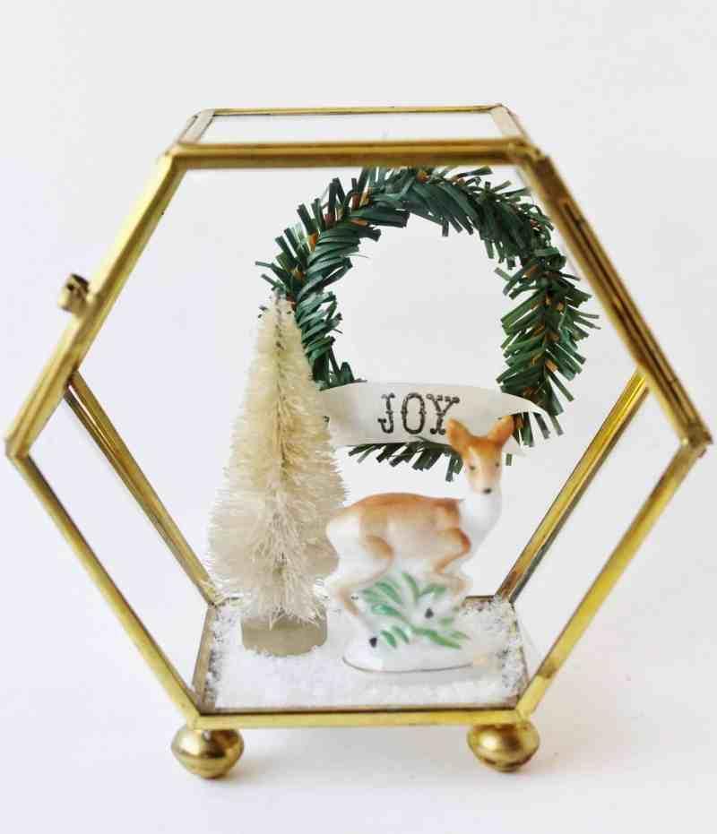 vintage brass and glass christmas diorama