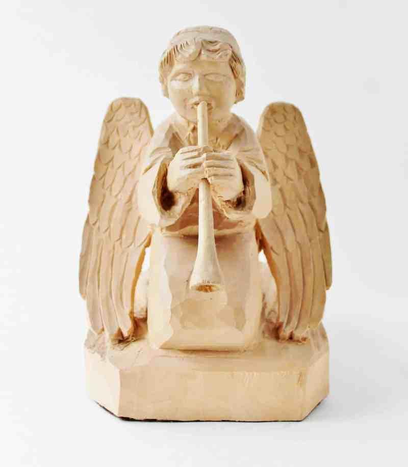 folk art carved angel