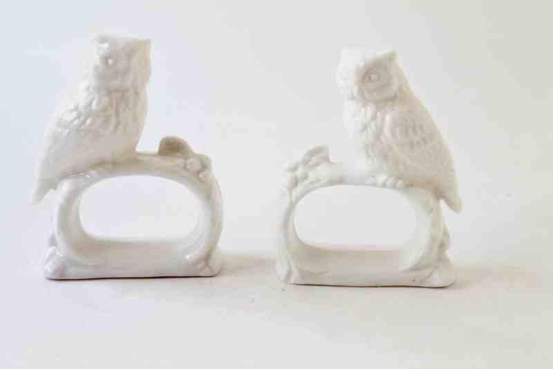 porcelain owl napkin rings