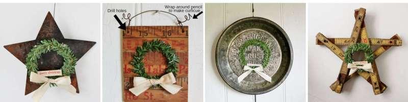 rusty star, yardstick, mini pan, folding ruler christmas ornaments