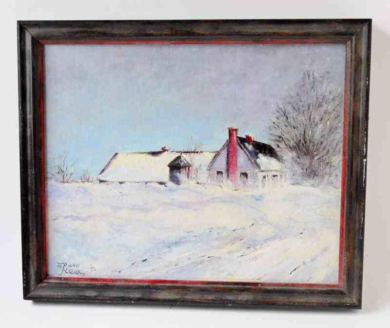 original art, maine barn oil painting