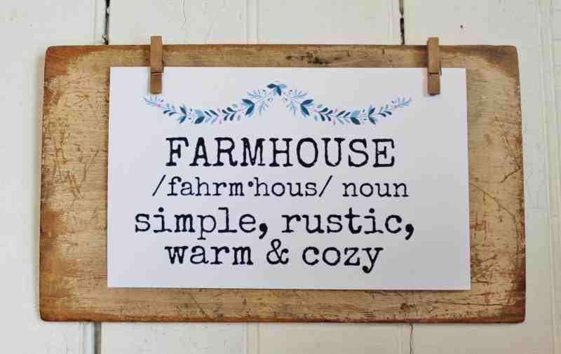 farmhouse printable on vintage wood display