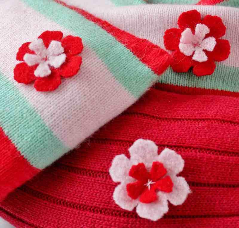 wool flowers on homemade heating pads