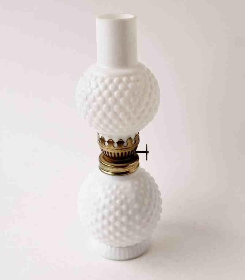 vintage milk glass hobnail lantern
