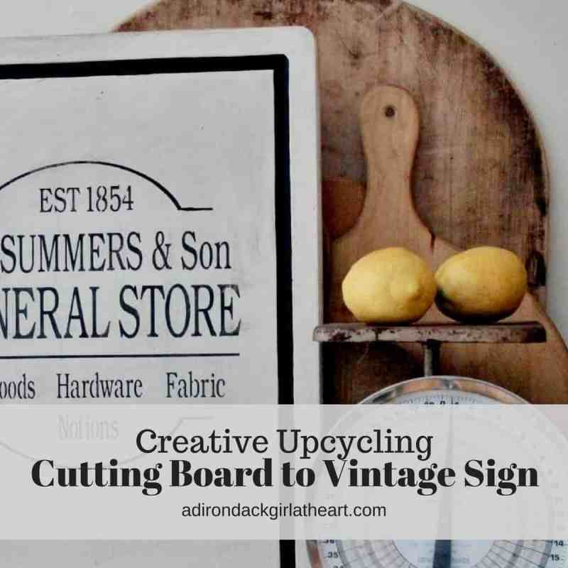 creative upcycling cutting board to vintage sign