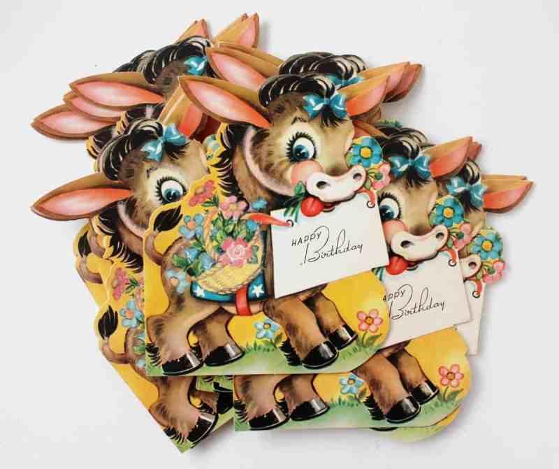 vintage donkey birthday cards
