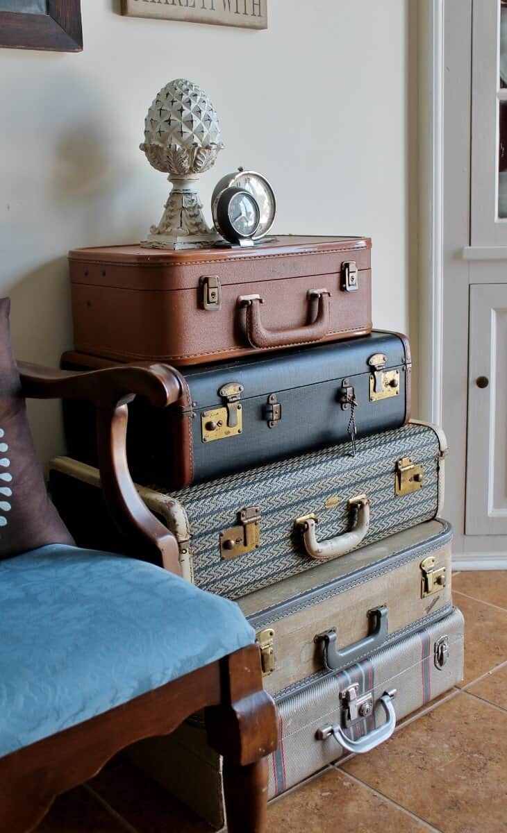 side view of vintage luggage stack