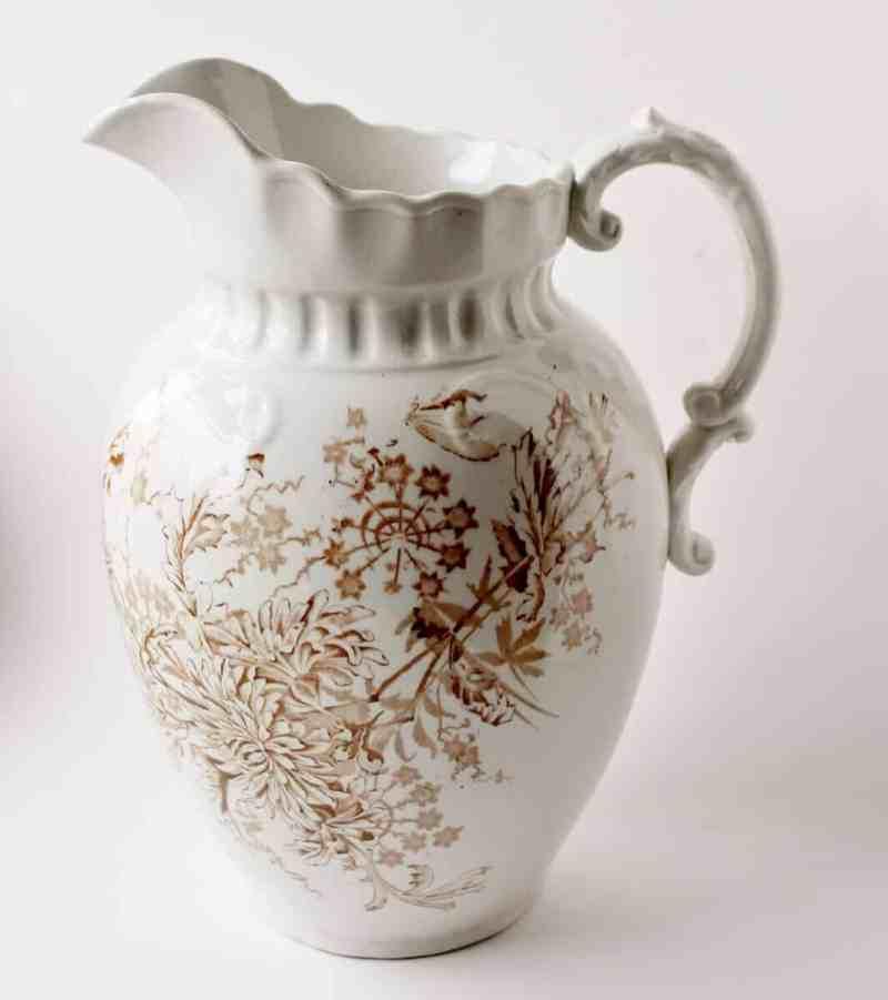 Antique transferware ironstone pitcher