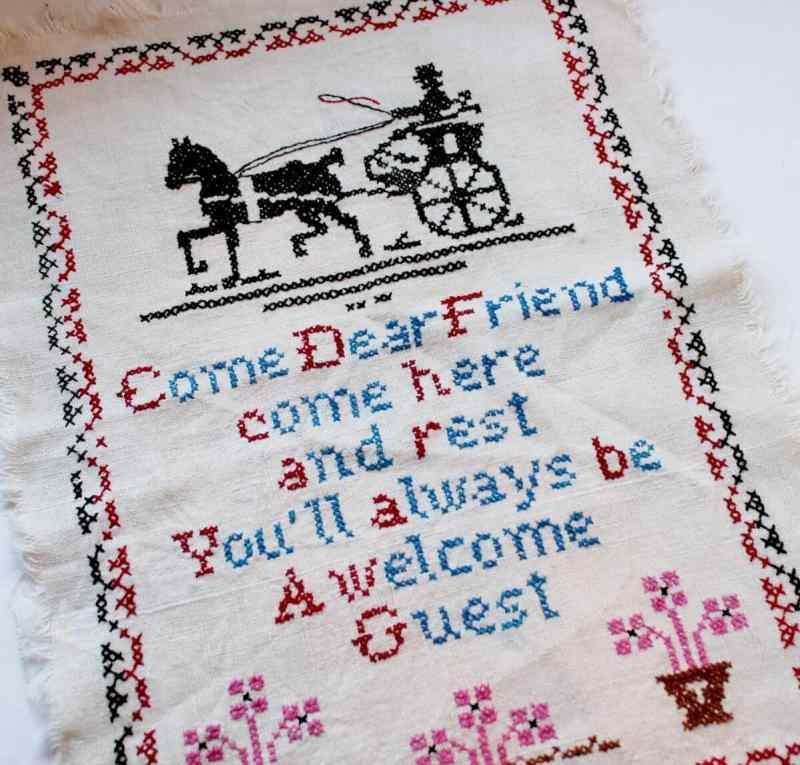 Vintage Cross Stitch Come Dear Friends... (1200x1147)