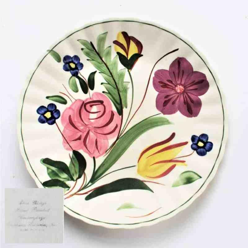 vintage blue ridge floral plate