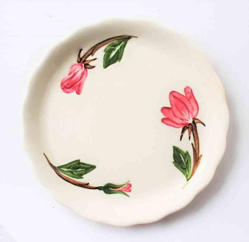 Vintage Unmarked Handpainted Floral Plate