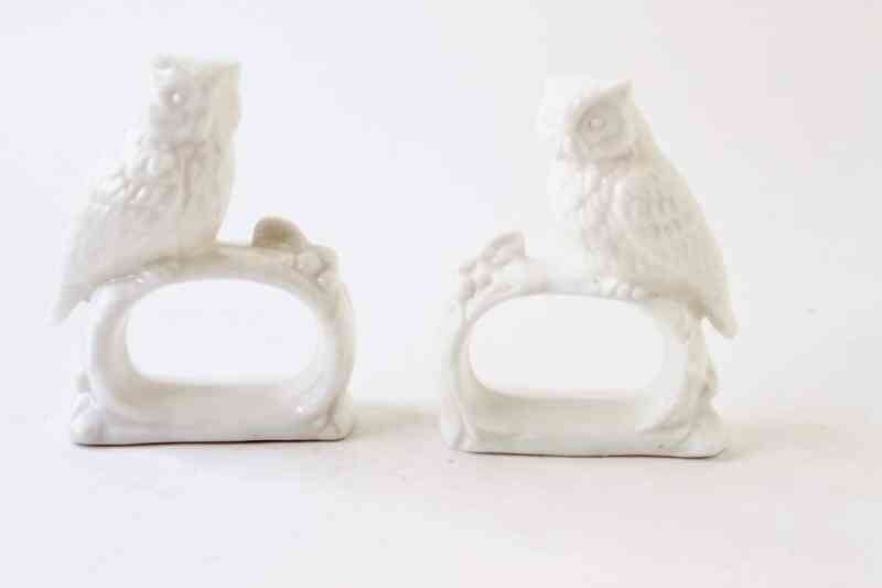 Vintage Ceramic Made in Japan Owl Napkin rings