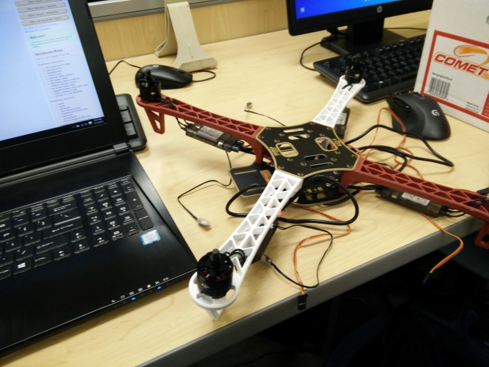 The frame with the motors installed and some electronics