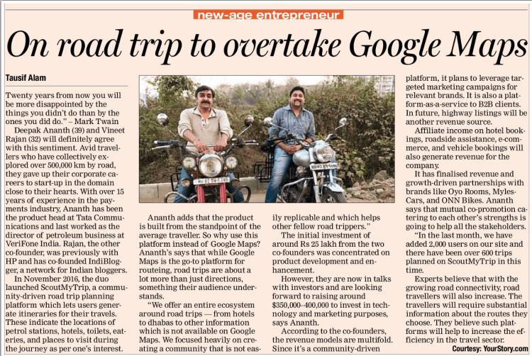 ScoutMyTrip in the news. The ultimate road trip planner and partners to Aditya Raj Kapoor