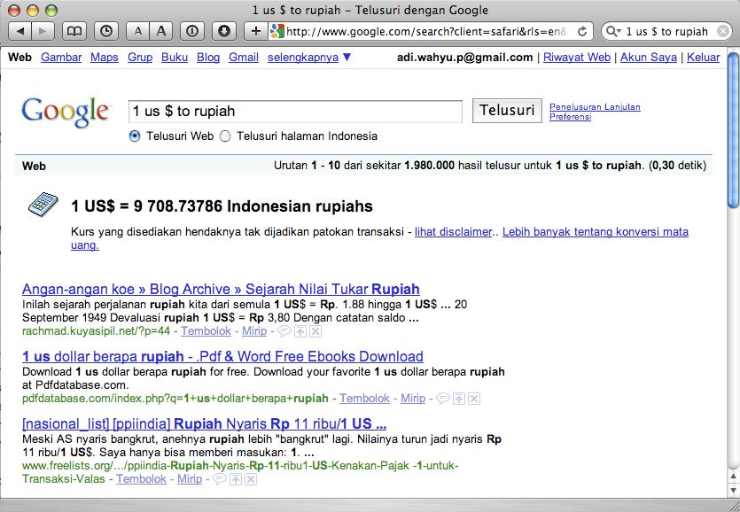 1 US $ ke Rupiah via Google