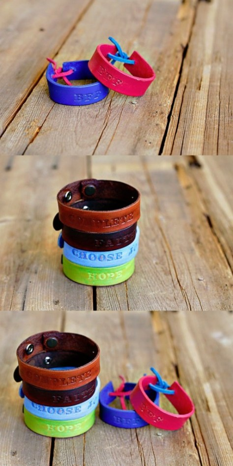 DIY Hand Stamped Leather Bracelets