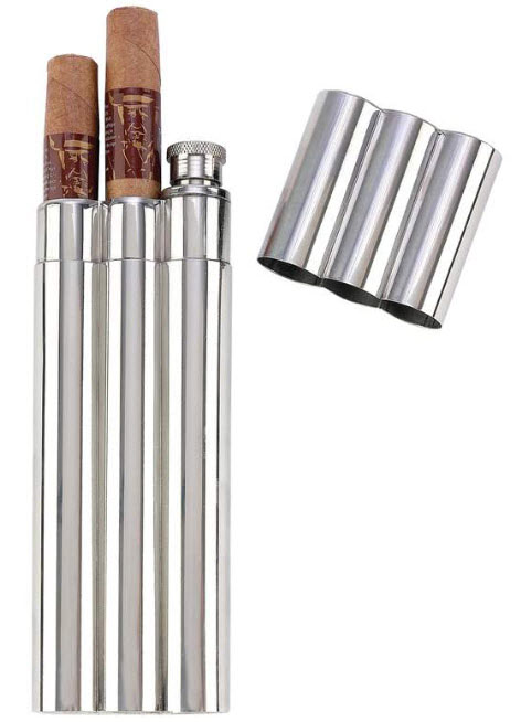Stainless Steel Double Cigar Flask