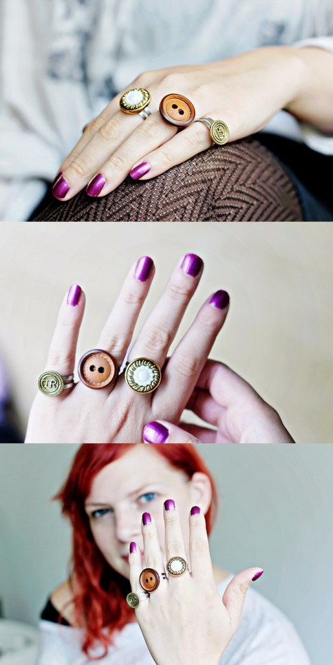 DIY Upcycling Button Rings