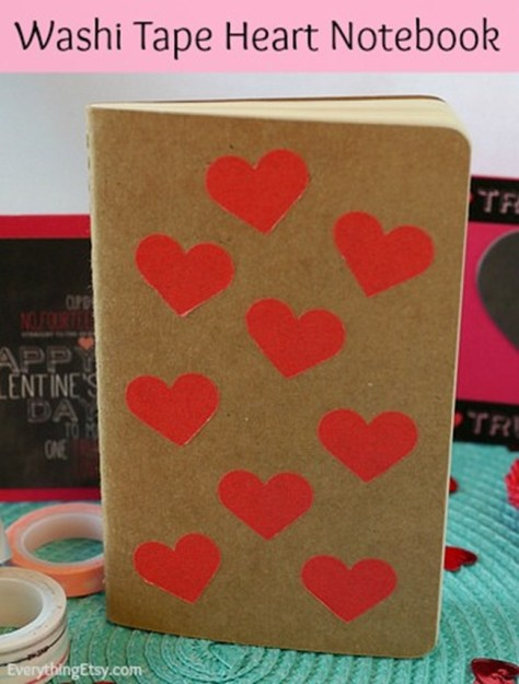 DIY Washi Tape Heart Notebook