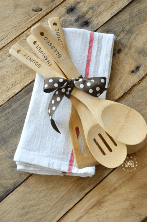 DIY Handstamped Wooden Utensils