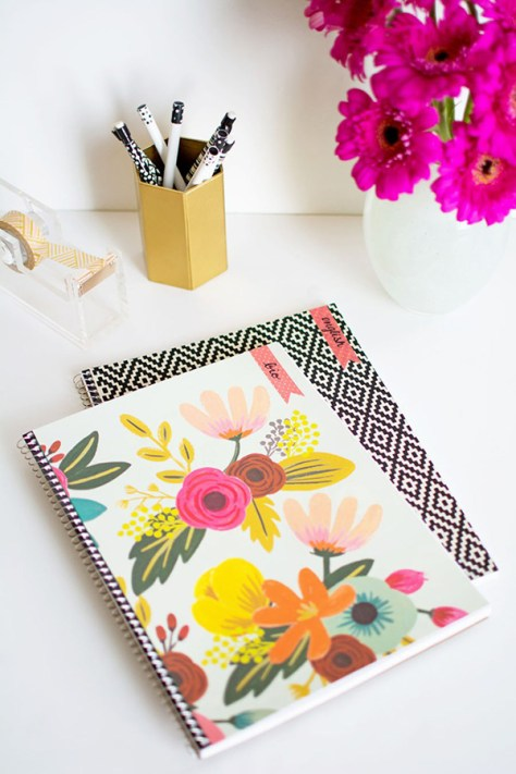 Decorated Notebook and Pens