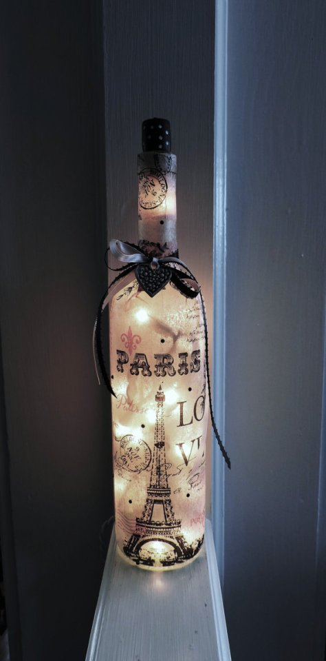 DIY Pink Paris Wine Bottle Lamp
