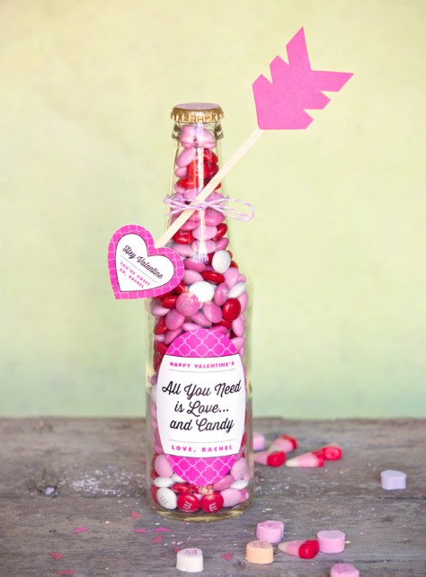 DIY Valentine Candy Bottles And Heart Arrow