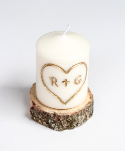 DIY Carved Initial Candle