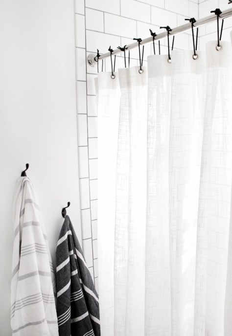 DIY Leather Shower Curtain Rings