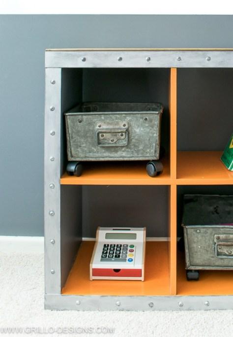 DIY Industrial Storage For A Boys Bedroom