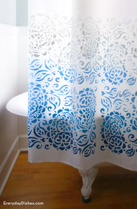 DIY Stenciled Paisley Shower Curtain