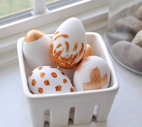 Copper Glitter Painted Easter Eggs