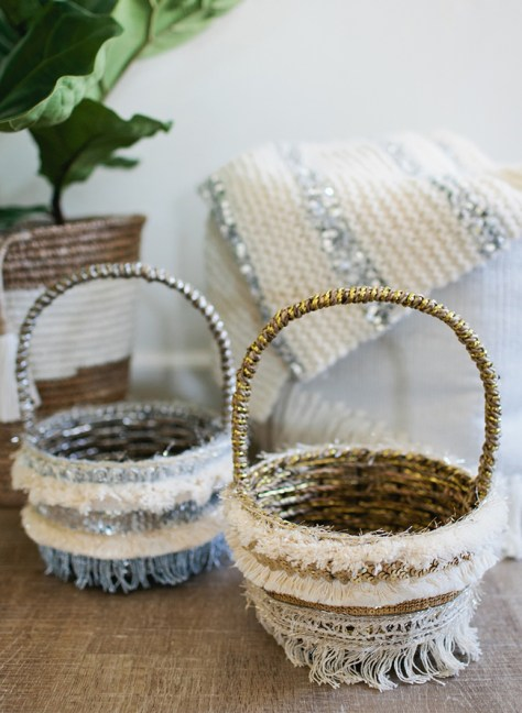 DIY Feather Easter Baskets