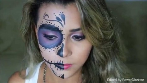 Day of the Dead Half Face Halloween Makeup