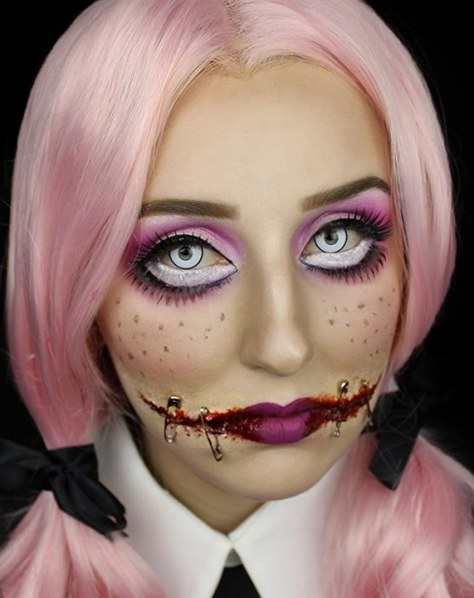 Creepy Doll With Stitched Mouth Halloween Makeup