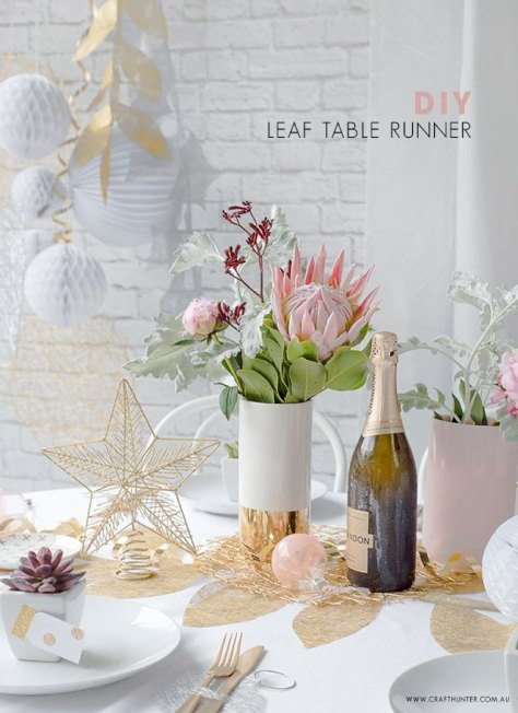 Gold Leaf Christmas Table Decoration