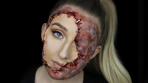 Stapled Face Halloween Makeup