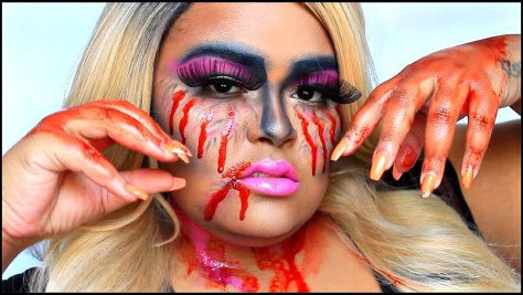 Bloody Barbie Halloween Makeup