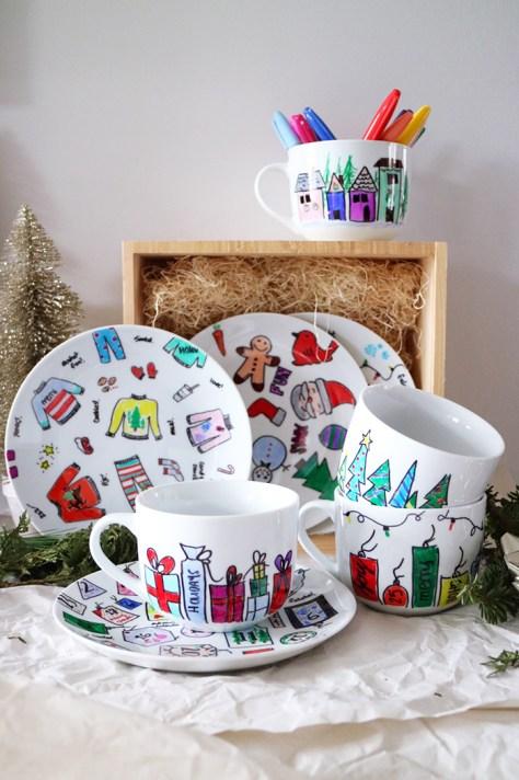 Hand Painted Plates and Mugs Christmas Gift