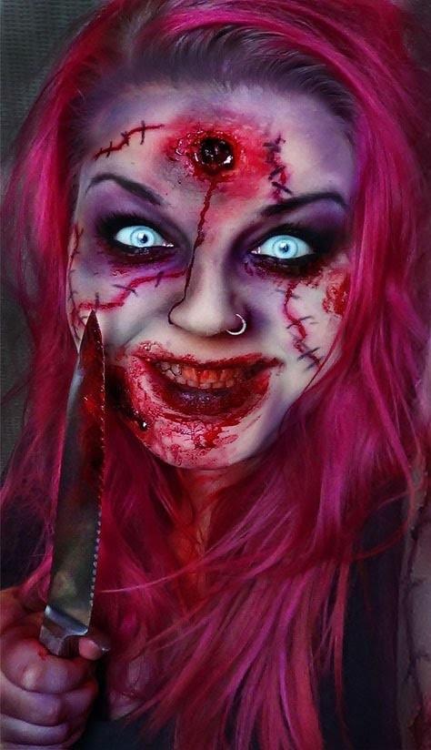 Zombie Head shot Halloween Makeup