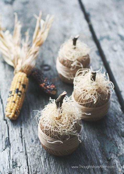 Miniature Thread Ball Pumpkins