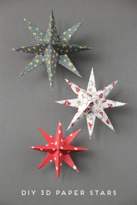 3D Paper Stars Ornaments