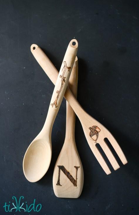 Wood Burnt Kitchen Spoons