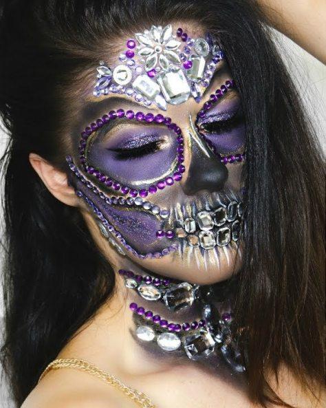 Glam Diamond Sugar Skull Halloween Makeup