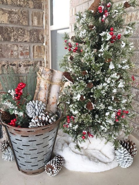 Snowfall Christmas Tree with Rustic Bucket