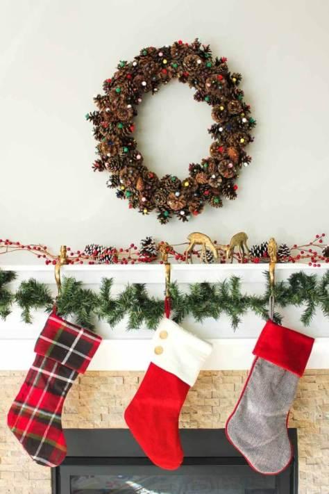 Pom Pom Pine Cone Wreath