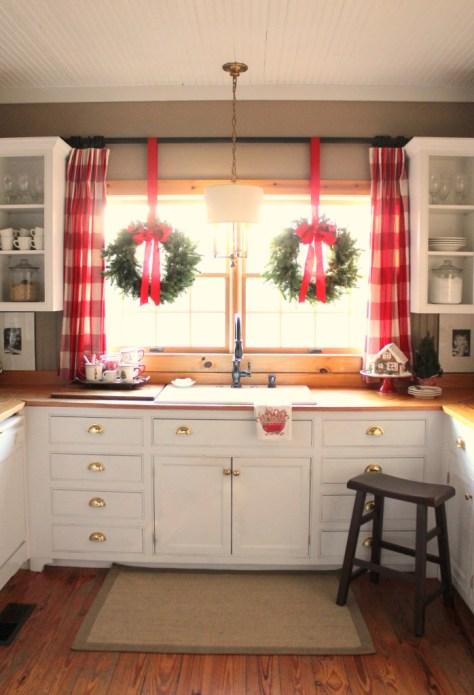 Wreaths in Kitchen Window